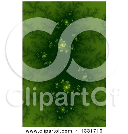 Clipart of a Green Fractal Background with a Dark Center and Spirals - Royalty Free Illustration by oboy