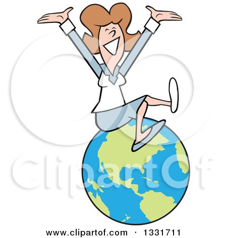 Clipart of a Cartoon Happy Caucasian Business Woman Cheering on Top of the World - Royalty Free Vector Illustration by Johnny Sajem