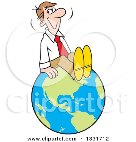 Clipart of a Cartoon Happy Caucasian Business Man Sitting on Top of the World - Royalty Free Vector Illustration by Johnny Sajem