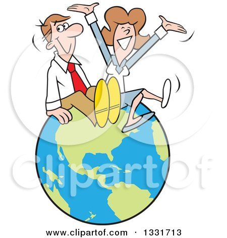 Clipart of a Cartoon Happy Caucasian Married Couple or Business Man and Woman Sitting and Cheering on Top of the World - Royalty Free Vector Illustration by Johnny Sajem