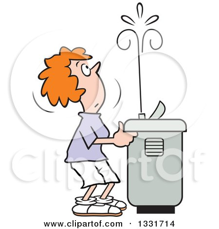 Clipart of a Cartoon Red Haired Caucasian Woman Playing with the Spray of a Water Drinking Fountain - Royalty Free Vector Illustration by Johnny Sajem