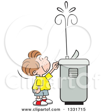 Clipart of a Cartoon Caucasian Boy Playing with the Spray of a Water Drinking Fountain - Royalty Free Vector Illustration by Johnny Sajem