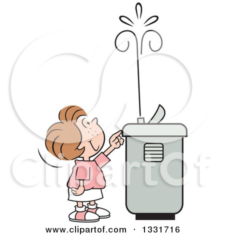 Clipart of a Cartoon Caucasian Girl Playing with the Spray of a Water Drinking Fountain - Royalty Free Vector Illustration by Johnny Sajem