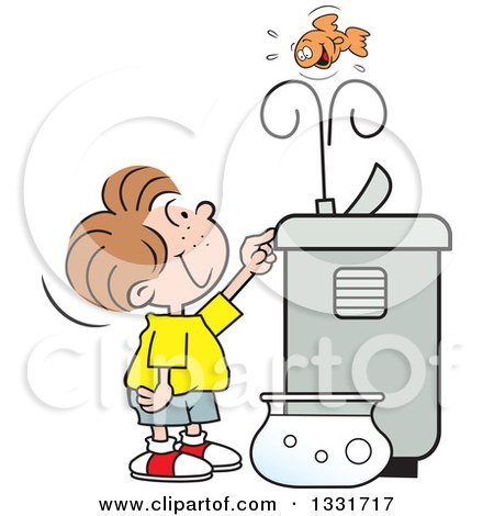 Clipart of a Cartoon Caucasian Boy Playing with a Goldfish in the Spray of a Water Drinking Fountain - Royalty Free Vector Illustration by Johnny Sajem
