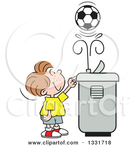 Clipart of a Cartoon Caucasian Boy Playing with a Soccer Ball in the Spray of a Water Drinking Fountain - Royalty Free Vector Illustration by Johnny Sajem