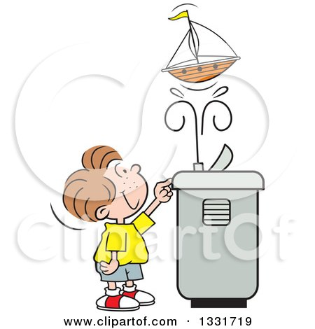 Clipart of a Cartoon Caucasian Boy Playing with a Toy Boat in the Spray of a Water Drinking Fountain - Royalty Free Vector Illustration by Johnny Sajem