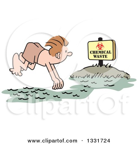 Clipart of a Cartoon White Man Diving into a Chemical Waste Area - Royalty Free Vector Illustration by Johnny Sajem