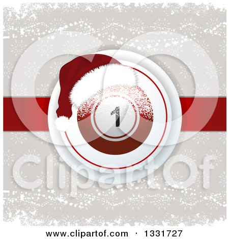 Clipart of a 3d Christmas Bingo or Lottery Ball with a Santa Hat and Snowflakes over Taupe and Red - Royalty Free Vector Illustration by elaineitalia