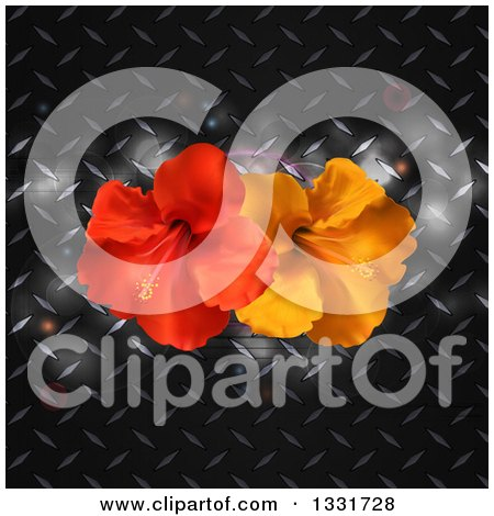 Clipart of 3d Red and Orange Hibiscus Flowers over Diamond Plate Metal with Flares - Royalty Free Vector Illustration by elaineitalia