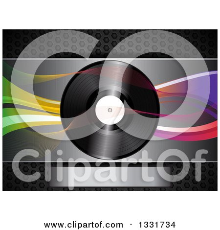 Clipart of a 3d Music Vinyl Record with Mesh and Colorful Waves over Metal with a Plaque - Royalty Free Vector Illustration by elaineitalia