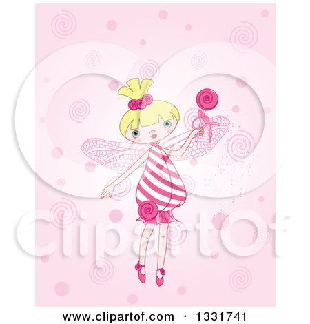 Clipart of a Cartoon Blond White Candy Fairy Holding up a Loly Pop - Royalty Free Vector Illustration by Pushkin