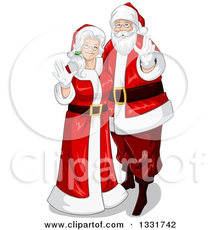 Clipart of a Christmas Santa and Mrs Claus Waving - Royalty Free Vector Illustration by Liron Peer