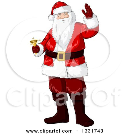 Clipart of a Christmas Santa Claus Waving and Ringing a Bell - Royalty Free Vector Illustration by Liron Peer