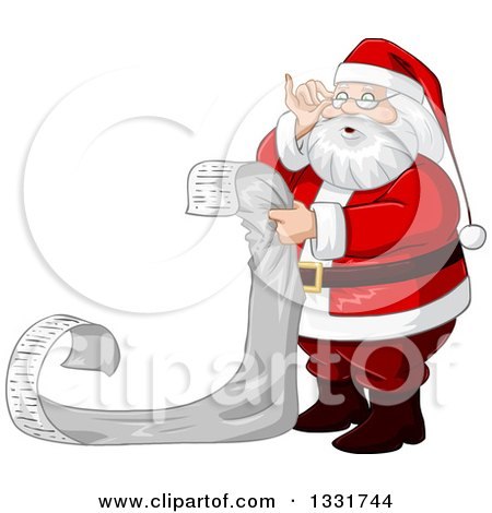 Clipart Of A Christmas Santa Claus Adjusting His Glasses And Reading A Long List Royalty Free Vector Illustration