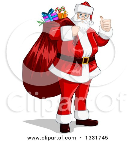Clipart of a Christmas Santa Claus Giving a Thumb up and Carrying a Sack - Royalty Free Vector Illustration by Liron Peer