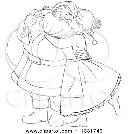Clipart of a Black and White Christmas Santa Claus Waving and Ringing a Bell - Royalty Free Vector Illustration by Liron Peer