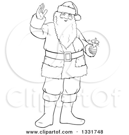 Clipart of a Black and White Lineart Christmas Santa Claus Waving and Ringing a Bell - Royalty Free Vector Illustration by Liron Peer