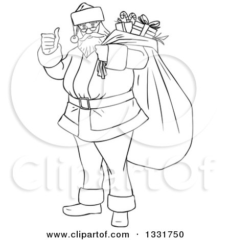 Clipart of a Black and White Christmas Santa Claus Giving a Thumb up and Carrying a Sack - Royalty Free Vector Illustration by Liron Peer