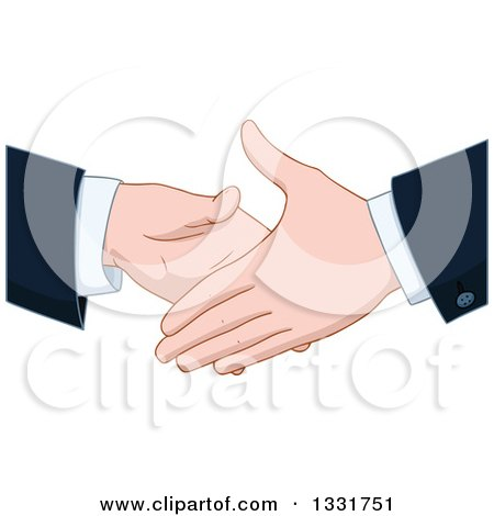 Clipart of Cartoon Caucasian Business Men About to Shake Hands - Royalty Free Vector Illustration by Liron Peer