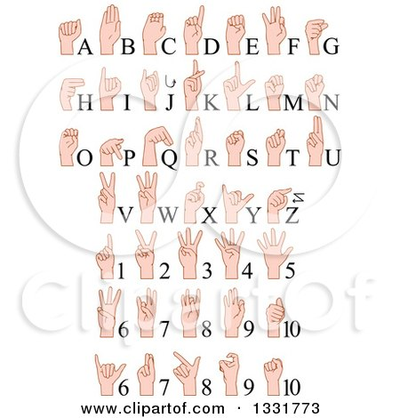 Clipart of Cartoon Caucasian Alphabet Sign Language Hands and Numbers - Royalty Free Vector Illustration by Liron Peer