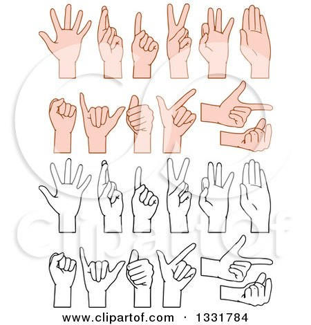 Clipart of Cartoon Black and White and Caucasian Hands Gesturing - Royalty Free Vector Illustration by Liron Peer