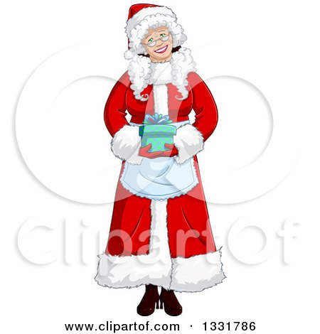 Clipart of a Happy Christmas Mrs Claus Holding a Gift - Royalty Free Vector Illustration by Liron Peer