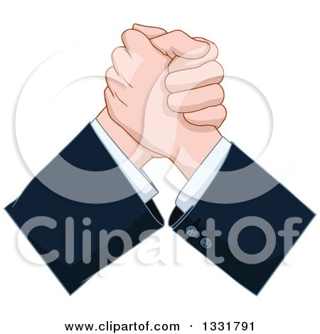 Clipart of Caucasian Business Men Hands Arm Wrestling - Royalty Free Vector Illustration by Liron Peer