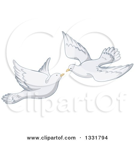Clipart of a White Pigeon Couple Flying, About to Kiss - Royalty Free Vector Illustration by Liron Peer