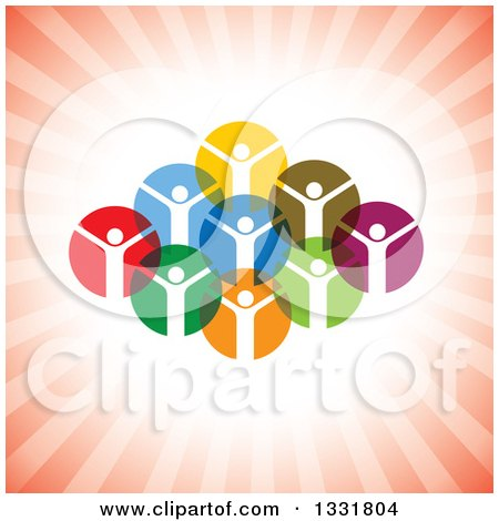 Clipart of a Unity Team of Cheering People in Colorful Circles over Red Rays - Royalty Free Vector Illustration by ColorMagic