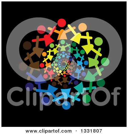 Clipart of a Unity Team Circle of Cheering Colorful People Spiraling over Black - Royalty Free Vector Illustration by ColorMagic
