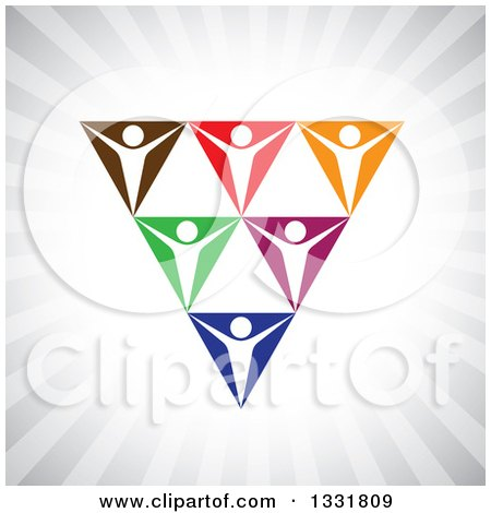 Clipart of a Unity Team of Cheering White People in Colorful Spaces Forming a Triangle over Gray Rays - Royalty Free Vector Illustration by ColorMagic