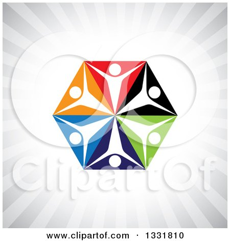 Clipart of a Unity Team Hexagon of Cheering People on Colorful Triangles over Gray Rays - Royalty Free Vector Illustration by ColorMagic