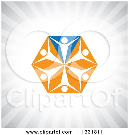 Clipart of a Unity Team Hexagon of Cheering White People on Blue and Orange Triangles over Gray Rays - Royalty Free Vector Illustration by ColorMagic