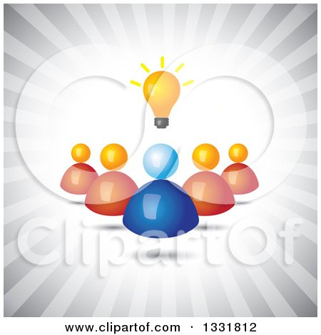 Clipart of a Blue Hand Holding a Creative Idea Light Bulb over Blue Rays - Royalty Free Vector Illustration by ColorMagic