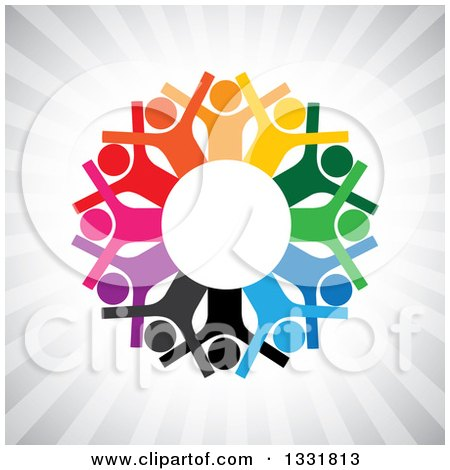 Clipart of a Unity Team Circle of Cheering Colorful People Around White over Gray Rays - Royalty Free Vector Illustration by ColorMagic