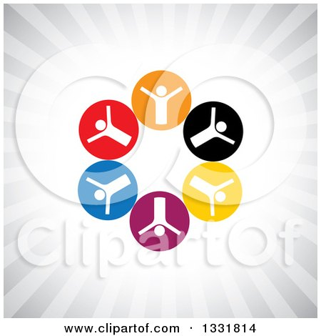 Clipart of a Unity Team Circle of Cheering White People in Colorful Circles over Gray Rays - Royalty Free Vector Illustration by ColorMagic