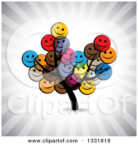 Clipart of a Tree with Happy Colorful Smiley Face Emoticon Foliage over Ray Rays - Royalty Free Vector Illustration by ColorMagic