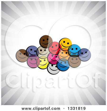 Clipart of a Cluster of Colorful Happy Smiley Emoticon Faces over a Burst of Gray Rays - Royalty Free Vector Illustration by ColorMagic