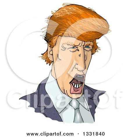 Clipart of a Talking Donald Trump Caricature - Royalty Free Illustration by djart