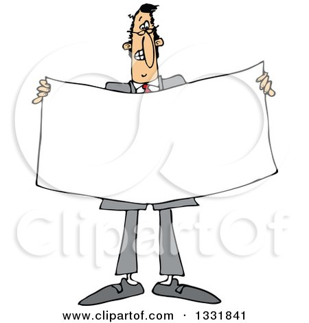 Clipart of a Cartoon White Business Man Holding a Blank Sign or Banner - Royalty Free Vector Illustration by djart