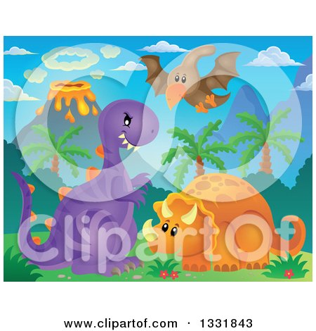 Clipart of Cute Pterodactyl, Triceratops and T Rex Dinosaurs with an Erupting Volcano - Royalty Free Vector Illustration by visekart