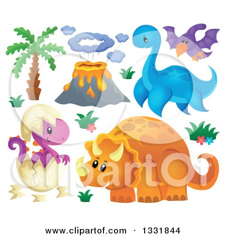 Clipart of a Palm Tree, Volcano, and Dinosaurs 2 - Royalty Free Vector Illustration by visekart