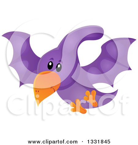 Clipart of a Happy Cute Purple Pterodactyl Dinosaur in Flight - Royalty Free Vector Illustration by visekart