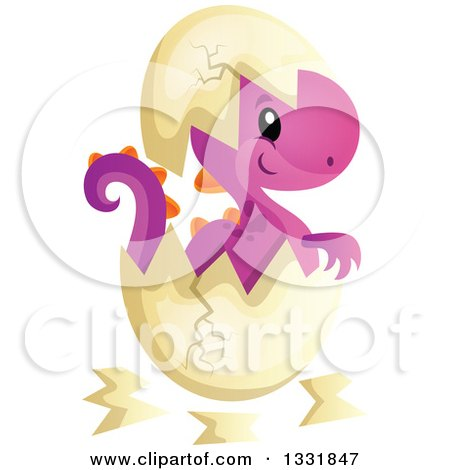 Clipart of a Cartoon Cute Hatching Purple Baby Dinosaur - Royalty Free Vector Illustration by visekart