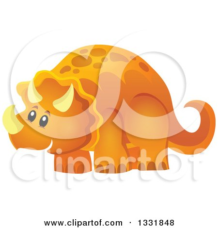 Clipart of a Happy Orange Triceratops Dinosaur - Royalty Free Vector Illustration by visekart