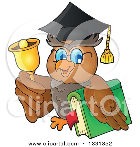 Clipart of a Professor Owl Holding a Book and Ringing a Bell - Royalty Free Vector Illustration by visekart