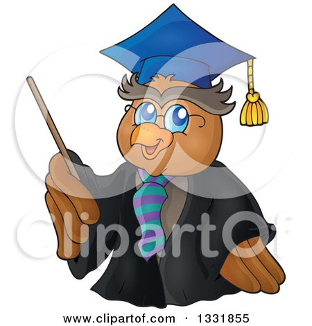 Clipart of a Professor Owl Holding a Pointer Stick - Royalty Free Vector Illustration by visekart