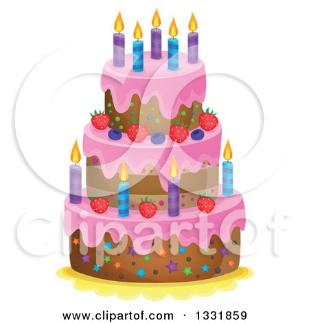 Clipart of a Cartoon Cake with Colorful Stars Party Balloons and
