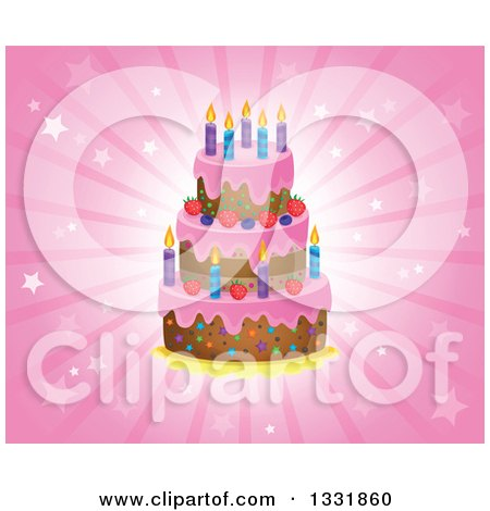 Clipart Four Tiered Colorful Birthday Cake With Candles And