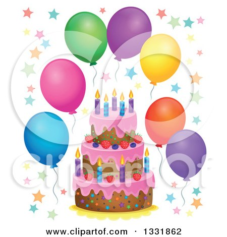 Clipart of a Cartoon Birthday Cake with Colorful Stars and Party Balloons - Royalty Free Vector Illustration by visekart